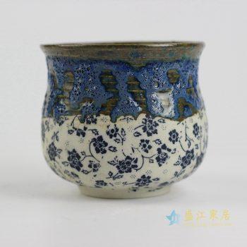 ryyf29-a     陶艺窑变花釉细花花盆