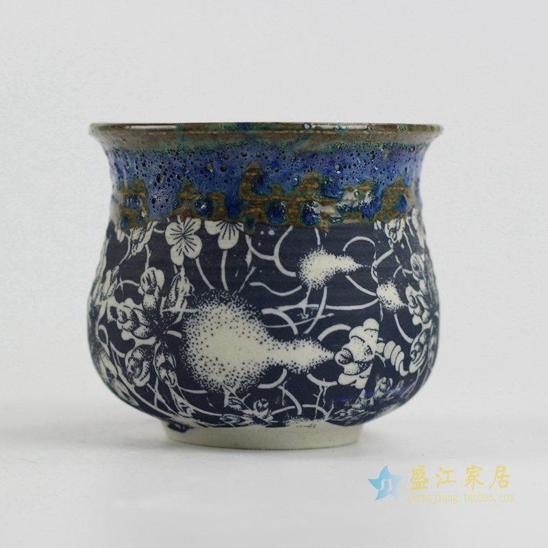 陶艺窑变花釉葫芦花盆