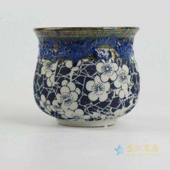 ryyf29-c 陶艺窑变花釉梅花2号花盆