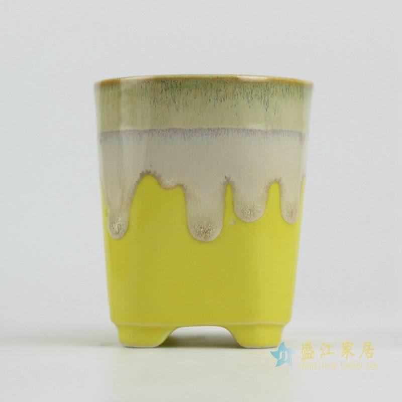 陶艺窑变花釉黄色直筒花盆