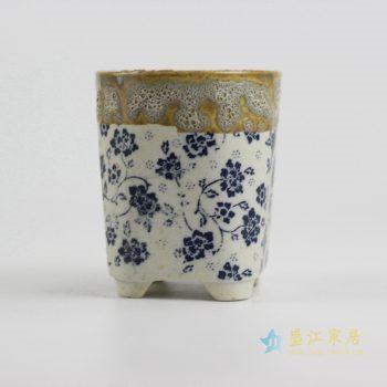 ryyf30-b     陶艺窑变花釉青花直筒花盆