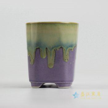 ryyf30-c      陶艺窑变花釉紫色直筒花盆
