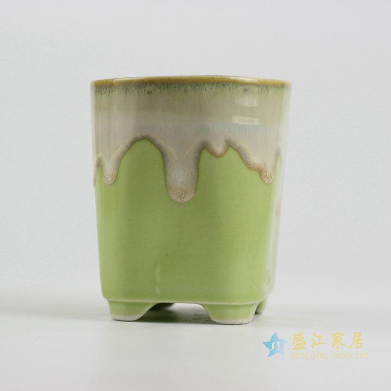 陶艺窑变花釉浅绿直筒花盆
