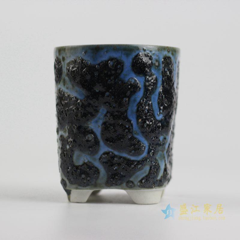 陶艺窑变花釉黑底直筒花盆