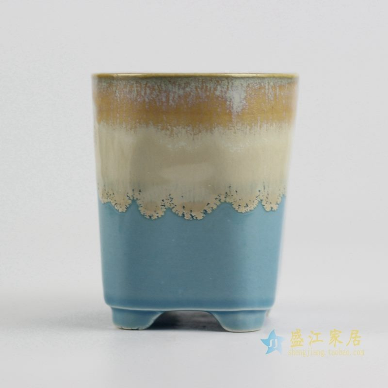 陶艺窑变花釉多色直筒花盆