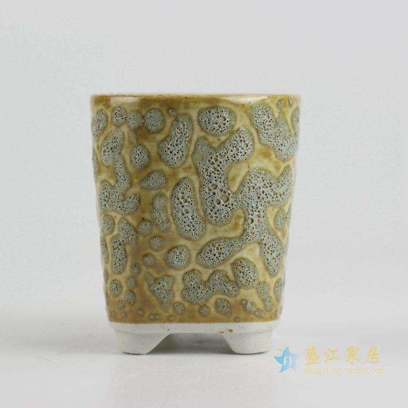 陶艺窑变花釉卵石直筒花盆