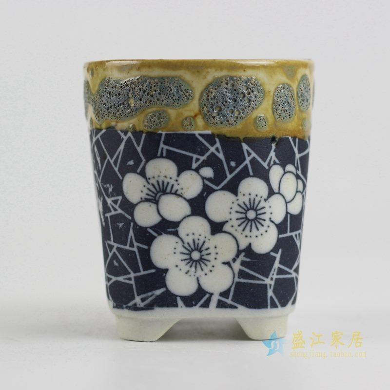 陶艺窑变花釉桃花直筒花盆