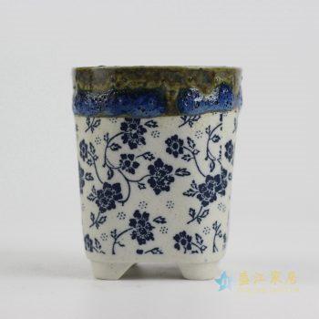 ryyf30-j     陶艺窑变花釉细花直筒花盆