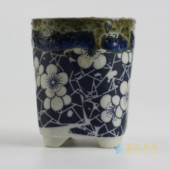 ryyf30-k     陶艺窑变花釉梅花直筒花盆3号
