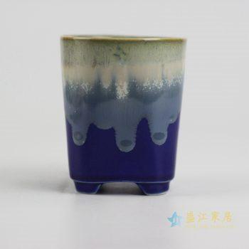 ryyf30-l     陶艺窑变花釉深兰底直筒花盆