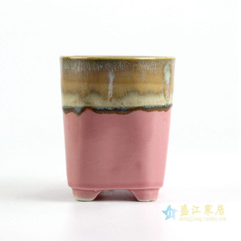 陶艺窑变花釉桃红底直筒花盆