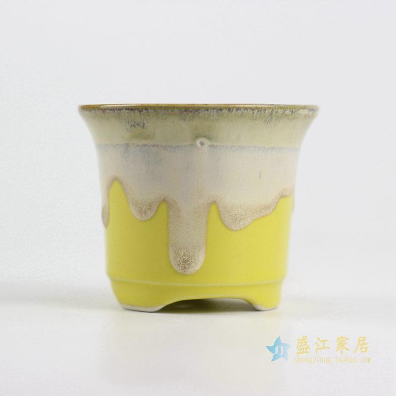 陶艺窑变花釉黄底花盆