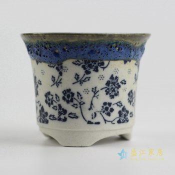 ryyf32-b    陶艺窑变花釉青花花盆