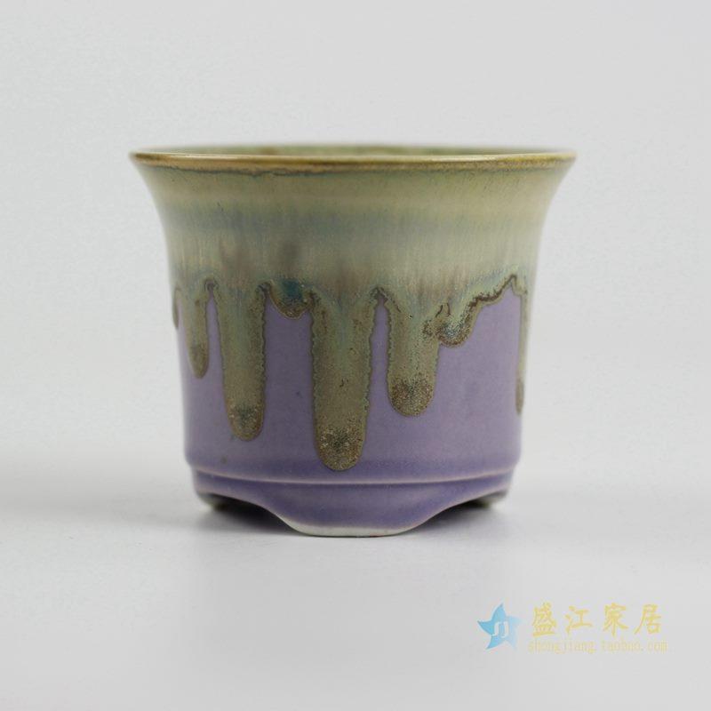 陶艺窑变花釉紫色花盆
