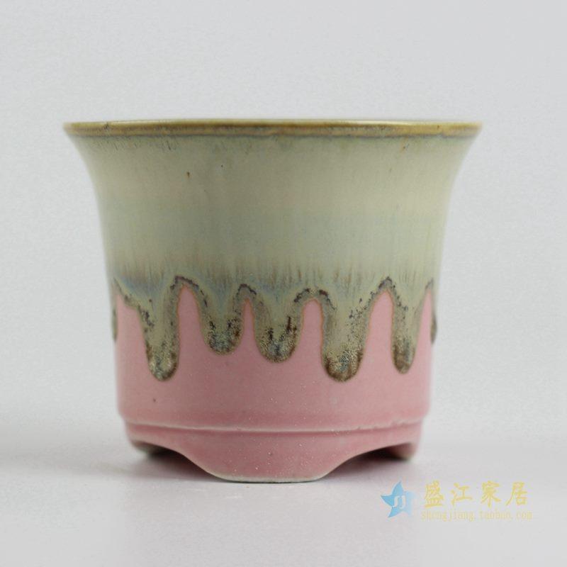 陶艺窑变花釉粉色花盆