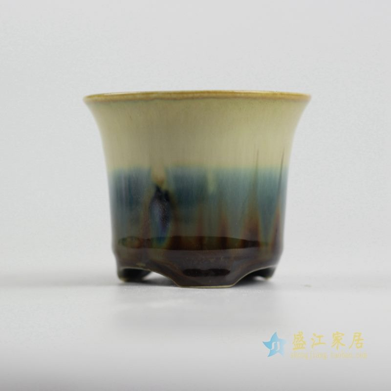 陶艺窑变花釉花盆