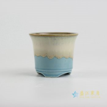 ryyf32-l     陶艺窑变花釉浅兰色花盆