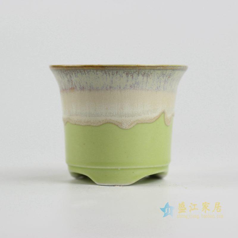 陶艺窑变花釉黄色花盆