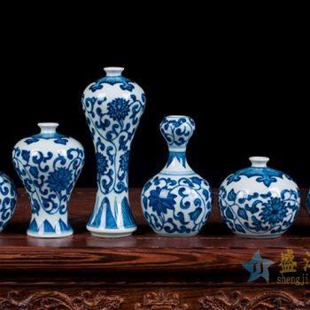 rzev02-2      青花缠枝莲小件花瓶花插  陶瓷艺术品