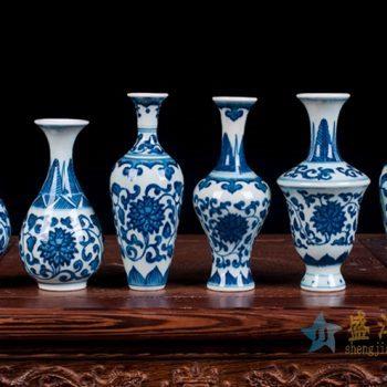 rzev02-4    青花缠枝莲小号花瓶花插   陶瓷摆件品 厂家直销
