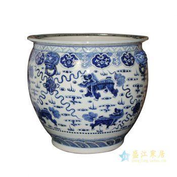 rzfh09     青花麒麟狮子头 水缸 米缸  花盆  陶瓷大缸