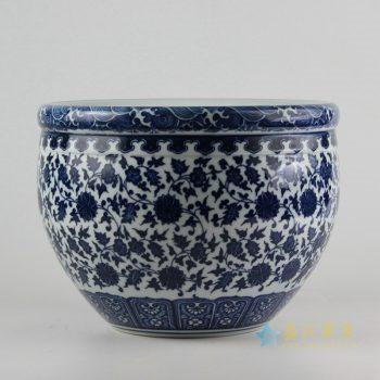 rzfu09-a-c73-01    青花缠枝莲纹  缸 花盆   米缸  水缸
