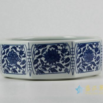rzfu11-a-c74-01    青花缠枝莲纹 八角水洗 水浅 茶洗