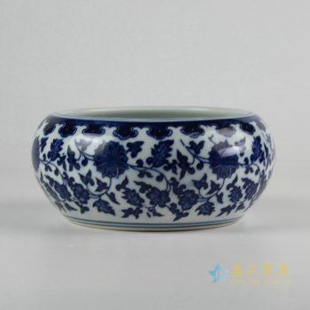 rzfu12-a-c73-08 青花缠枝莲纹水洗水浅 花盆