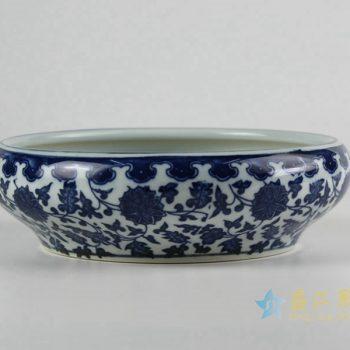 rzfu14-b-40jian-c73-19 青花缠枝莲水洗水浅 鱼缸