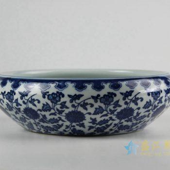 rzfu14-c-50jian-c73-25 青花缠枝莲水洗水浅 鱼缸