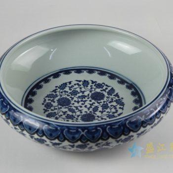 rzfu14-d-80jian-c73-29 青花缠枝莲水洗水浅 鱼缸