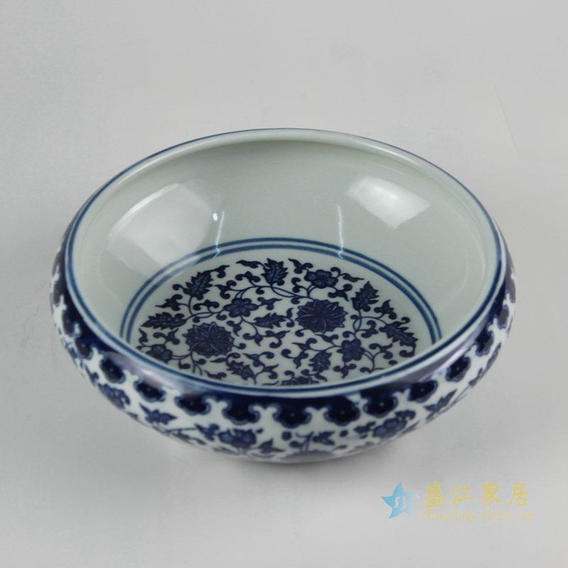 青花缠枝莲水洗水浅 鱼缸