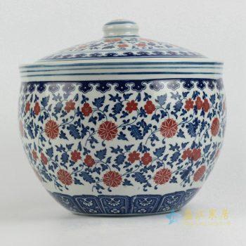 rzfu15-a      10斤青花釉里红茶叶罐  米缸   储物罐
