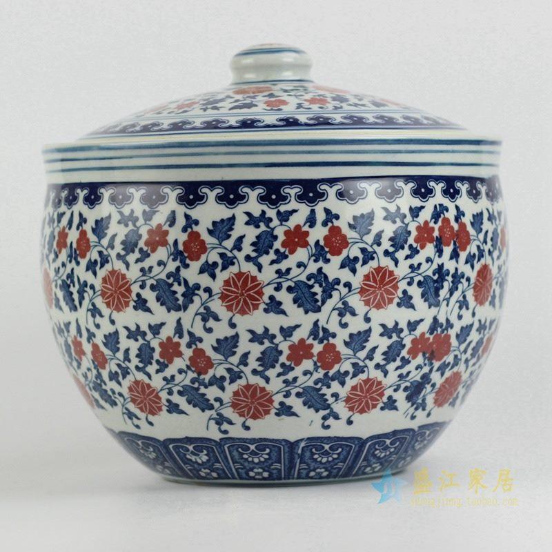 10斤青花釉里红茶叶罐 米缸 储物罐