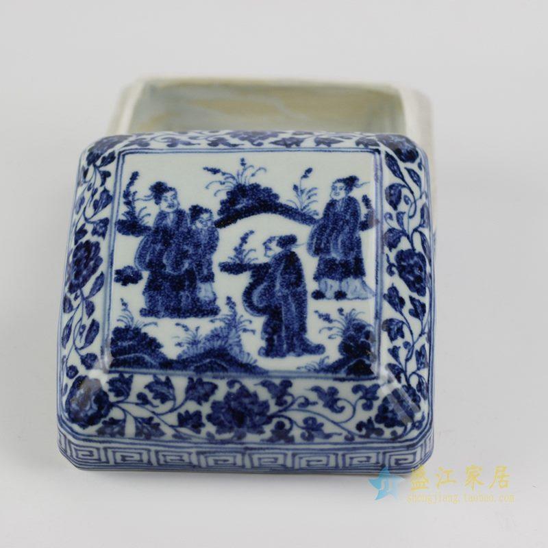 仿古 大明宣德青花手绘人物印泥盒