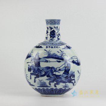 rzhl09-a    仿古手绘 景德镇 大明宣德青花人物扁瓶艺术花瓶