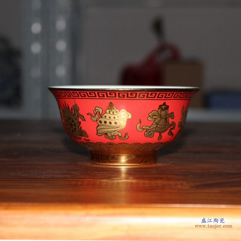 5寸金色红底米饭碗 景德镇 单碗 小汤碗