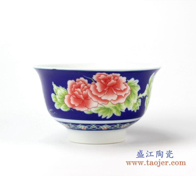 兰底红牡丹花饭碗      高脚    颜色釉单碗    汤圆碗