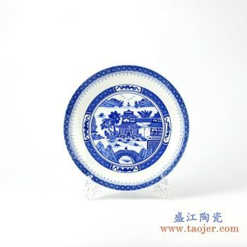 rzhx02 青花园林月光盆 挂盘 瓷碟 瓷盘 赏盘 摆设品