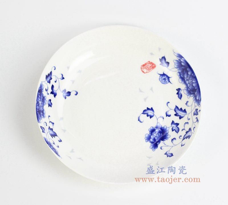 国色多姿菜盘 8寸深汤盘 骨瓷 碟