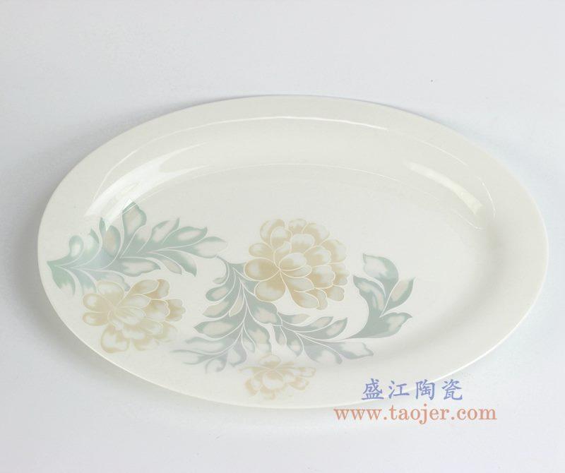 骨瓷 牡丹 12寸鱼盘  菜盘  碟子   厂家直销
