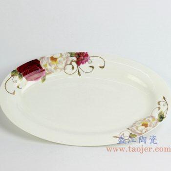 rzhy04-c   骨瓷 红玫瑰12寸 鱼盘 菜盘 陶瓷用具