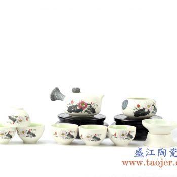 rziv03-b    10头墨红荷花茶具   套装功夫壶组茶器     泡茶器