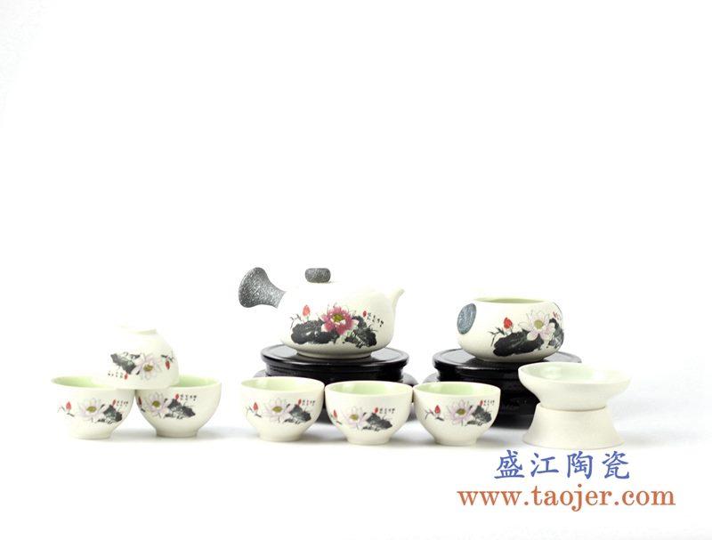 10头墨红荷花茶具 套装功夫壶组茶器 泡茶器