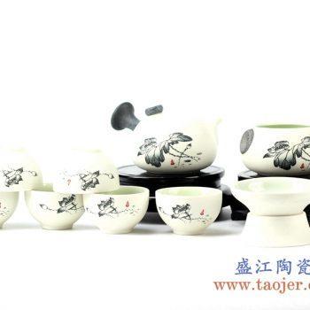 rziv03-c    10头墨荷花珍珠釉  壶组茶具  整套泡茶器   功夫茶具套组