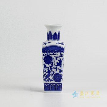 rzix03    青花缠枝莲花瓶   方形小花插瓶子   厂家直销