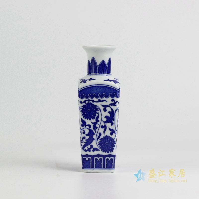 青花缠枝莲花瓶   方形花插瓶子   厂家直销