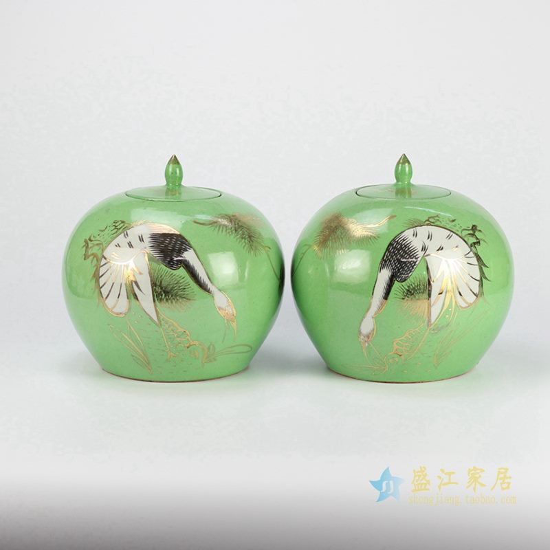 天鹅绿色颜色釉罐   储物密封罐