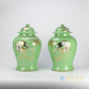 rzjd03-4    颜色釉绿色天鹅镶金双瓶 将军罐  厂家直销