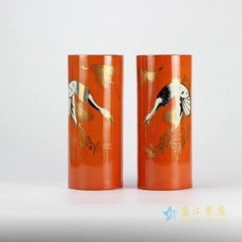 rzjd04-4   颜色釉  天鹅镶金橙色箭筒  伞筒  伞桶 景德镇